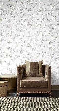 Papel De Parede Pop 10x0.52m Abstrato Branco/Prata