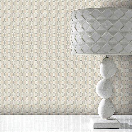 Papel De Parede Pop 10x0.52m Geometrico Areia/Prata