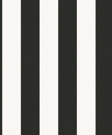 Papel De Parede Rumba 10x0.53m Listra Preto/Branco