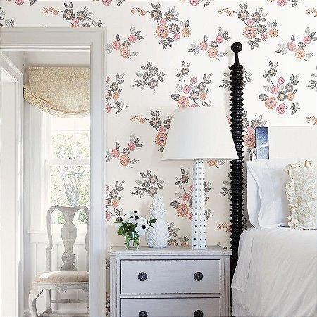 Papel De Parede Soul 10x0.52m Floral/Linhas Branco/Pink