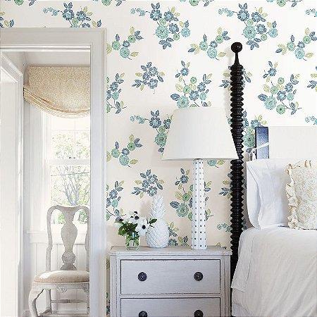 Papel De Parede Soul 10x0.52m Floral/Linhas Branco/Azul