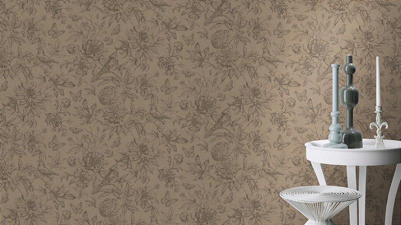 Papel De Parede Grace 10x0.53m Floral Cru/Grafite