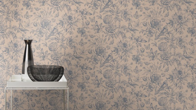 Papel De Parede Grace 10x0.53m Floral Bege/Azul Marinho 401301026