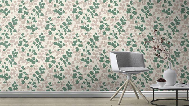 Papel De Parede Grace 10x0.53m Folhagem Branco/Verde Oliva