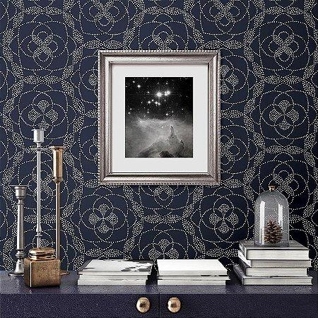 Papel De Parede Energy 10x0.52m Pontilhismo Floral Azul
