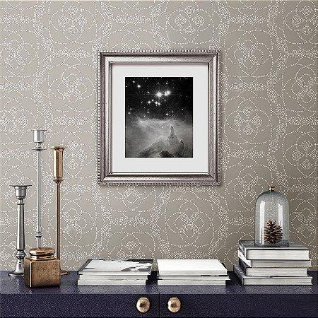 Papel De Parede Energy 10x0.52m Pontilhismo Floral Cinza
