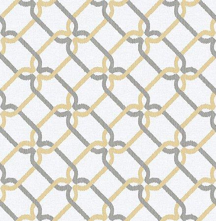 Papel De Parede Energy 10x0.52m Geom/Rabisco Amarelo/Cinza