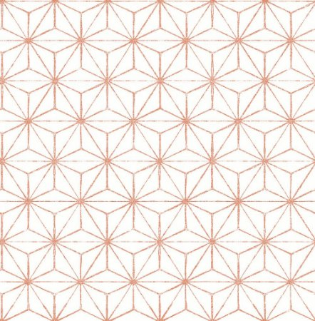 Papel De Parede Energy 10x0.52m Geometrico/Linhas Branco/Coral