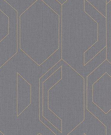 Papel De Parede Joy 10x0.53m Geometrico Cinza/Dourado