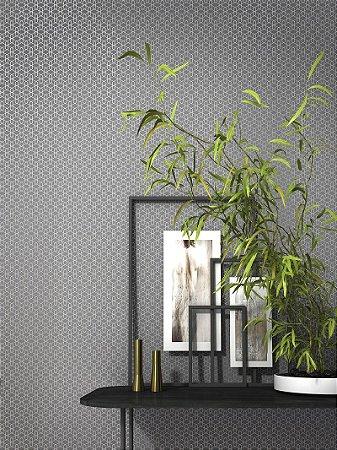 Papel De Parede Joy 10x0.53m Geometrico Cinza/Perolado