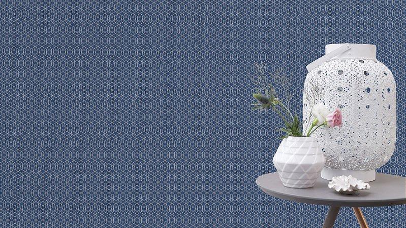 Papel De Parede Joy 10x0.53m Geometrico Azul Escuro/Prata