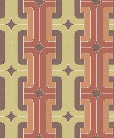 Papel De Parede Joy 10x0.53m Geometrico Laranja/Amarelo