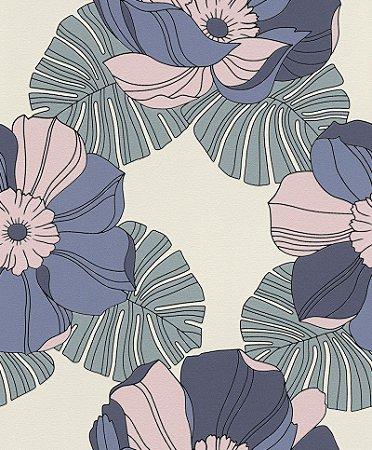 Papel De Parede Joy 10x0.53m Floral Rosa/Lilas