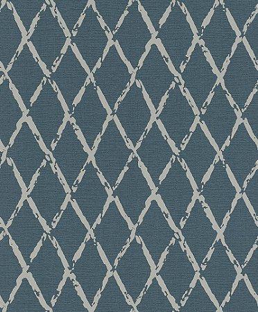 Papel De Parede Joy 10x0.53m Geometrico Bege/Azul Escuro