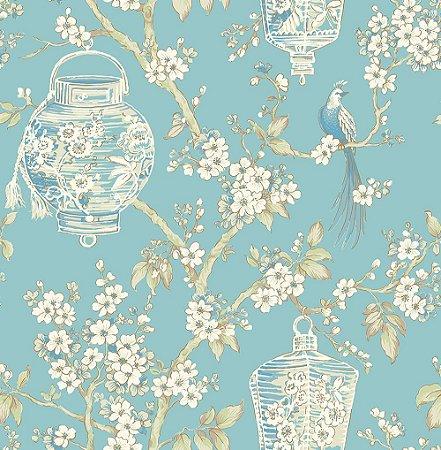 Papel De Parede Freedom 10x0.52m Floral Oriental Azul