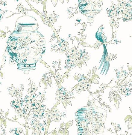 Papel De Parede Freedom 10x0.52m Floral Oriental Verde