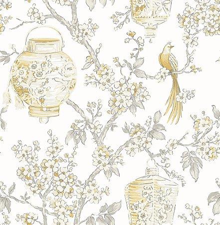 Papel De Parede Freedom 10x0.52m Floral Oriental Amarelo