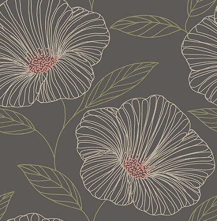Papel De Parede Freedom 10x0.52m Maxi Floral Marrom