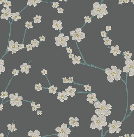 Papel De Parede Freedom 10x0.52m Flor Sakura Cinza Petroleo