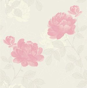 Papel De Parede Samba 53cmx10m Floral Rosa/Cinza