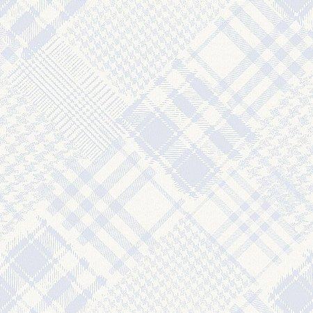 Papel De Parede Infantário Henrique Xadrez Patchwork Azul 1714