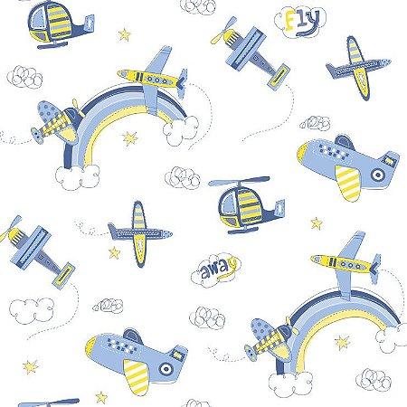 Papel De Parede Bambino's Avião Azul 3306
