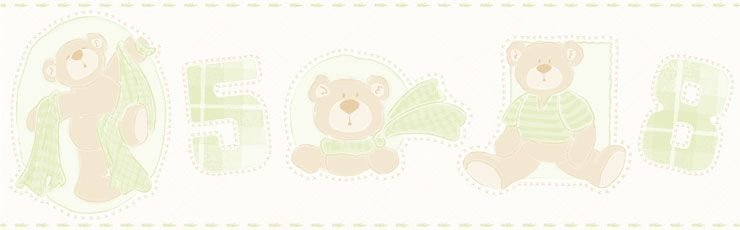 Papel De Parede Bambino's Ursos Verde 3209