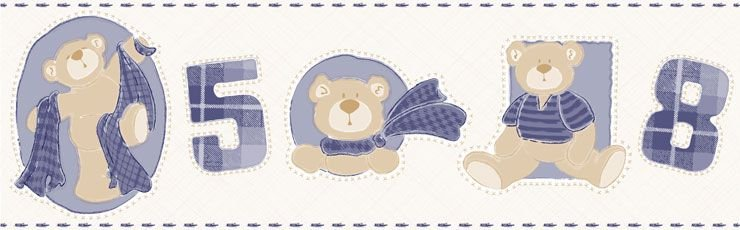 Papel De Parede Bambino's Faixa Urso Azul Escuro 3211