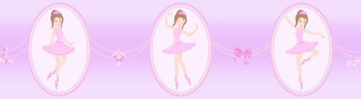 Papel De Parede Bambino's Faixa Bailarina Rosa e Lilás 3214