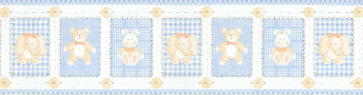 Papel De Parede Bambino's Faixa Pelucias Azul 5508