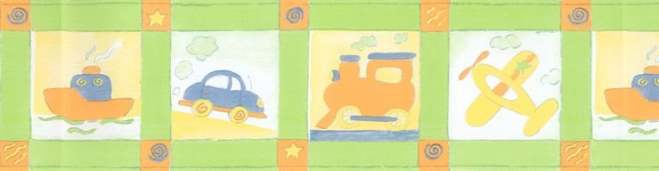 Papel De Parede Bambino's Faixa Transporte Verde 5510
