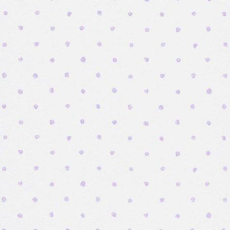 Papel De Parede Bambino's Branco com Bolinhas Lilás 5064