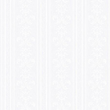 Papel De Parede Relevos Listra e Arabesco Branco 3400