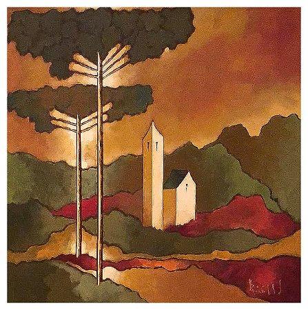 Quadro Pintura Artística 107 - Álvaro Borges filho acrílica sobre tela 60 X 60 Pinheiro e igreja s/ moldura
