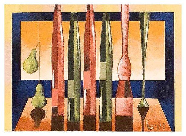 Quadro Pintura Artística 128 - Álvaro Borges filho acrílica sobre tela 50 X 70 Garrafas s/ moldura