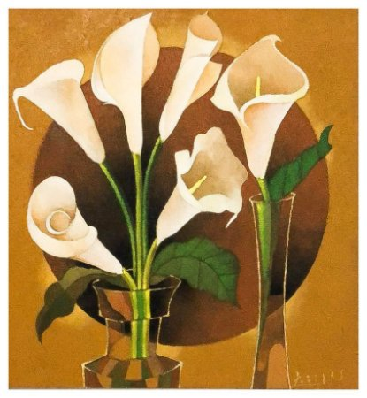 Quadro Pintura Artística  148 - Álvaro Borges filho acrílica sobre tela 80 X 75 Copos de leite s/ moldura