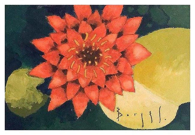 Quadro Pintura Artística 59 - Álvaro Borges filho acrílica sobre tela 20 X 30 Vitoria régia s/ moldura