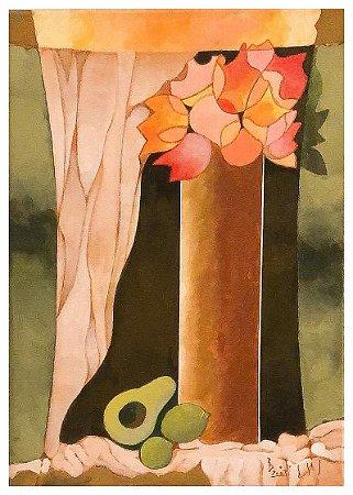 Quadro Pintura Artística 119 - Álvaro Borges filho acrílica sobre tela 70 X 50 Vaso com flores Painel