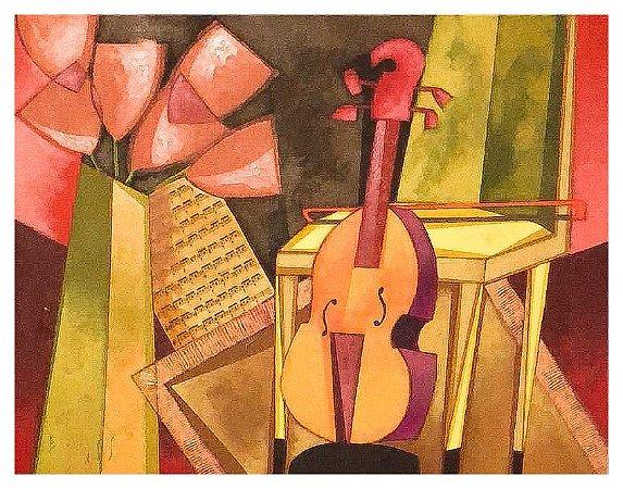 Quadro Pintura Artística  135 - Álvaro Borges filho acrílica sobre tela 65 X 85 Violino, cadeira  e vaso s/ moldura
