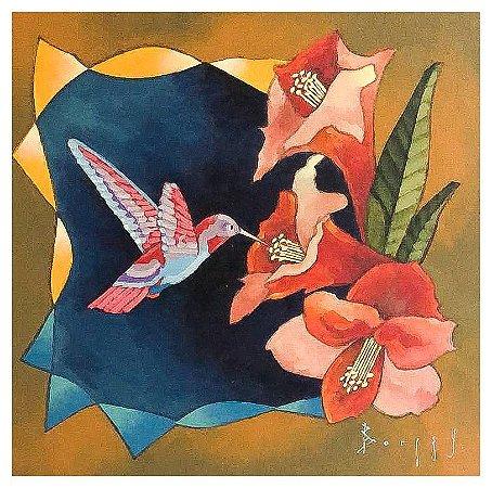 Quadro Pintura Artística 95 - Álvaro Borges filho acrílica sobre tela 50 X 50 Colibri s/ moldura