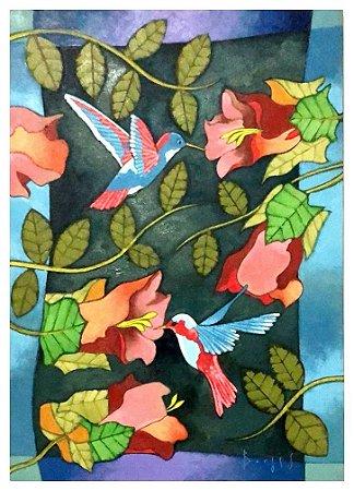 Quadro Pintura Artística 130 - Álvaro Borges filho acrílica sobre tela 70 X 50 Colibris s/ moldura