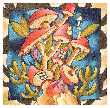 Quadro Pintura Artística 123 - Álvaro Borges filho acrílica sobre tela 60 X 60 Casa de duendes Painel