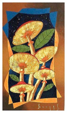 Quadro Pintura Artística 82 - Álvaro Borges filho acrílica sobre tela 50 X 30 Cogumelos s/ moldura