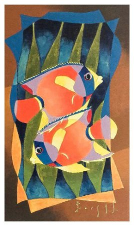 Quadro Pintura Artística 83 - Álvaro Borges filho acrílica sobre tela 50 X 30 Peixes s/ moldura