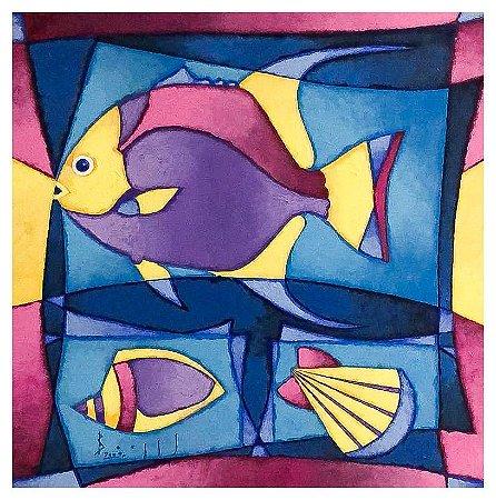 Quadro Pintura Artística 96 - Álvaro Borges filho acrílica sobre tela 50 X 50 Peixe e Conchas s/ moldura
