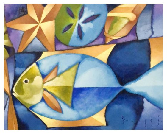 Quadro Pintura Artística 108 - Álvaro Borges filho acrílica sobre tela 50 X 60 Peixe s/ moldura