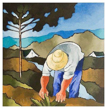 Quadro Pintura Artística  92 - Álvaro Borges filho acrílica sobre tela 50 X 50 Pinheiro e agricultor s/ moldura