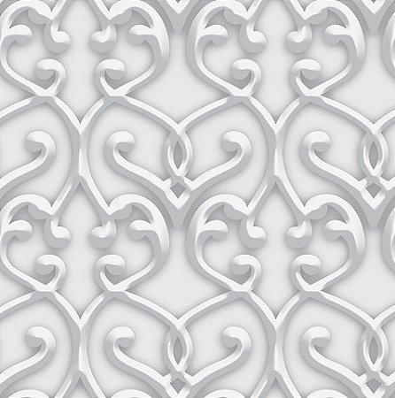 Papel De Parede Dimensões Arabesco Branco 0013