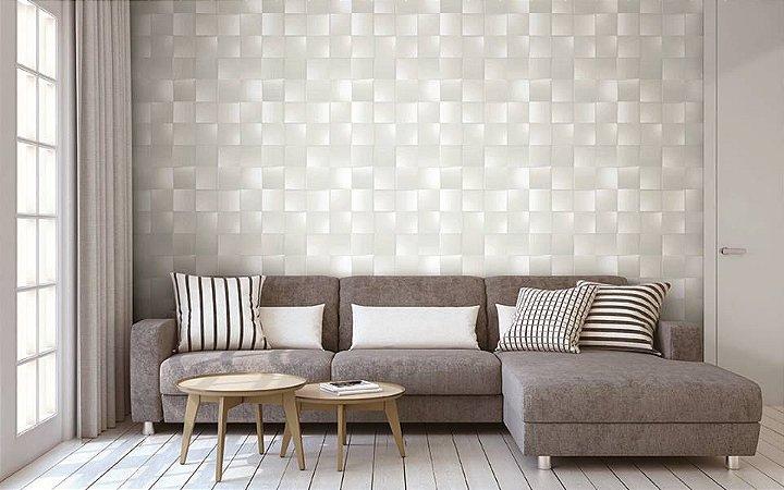 Papel De Parede Dimensões Quadriculado Branco 0015