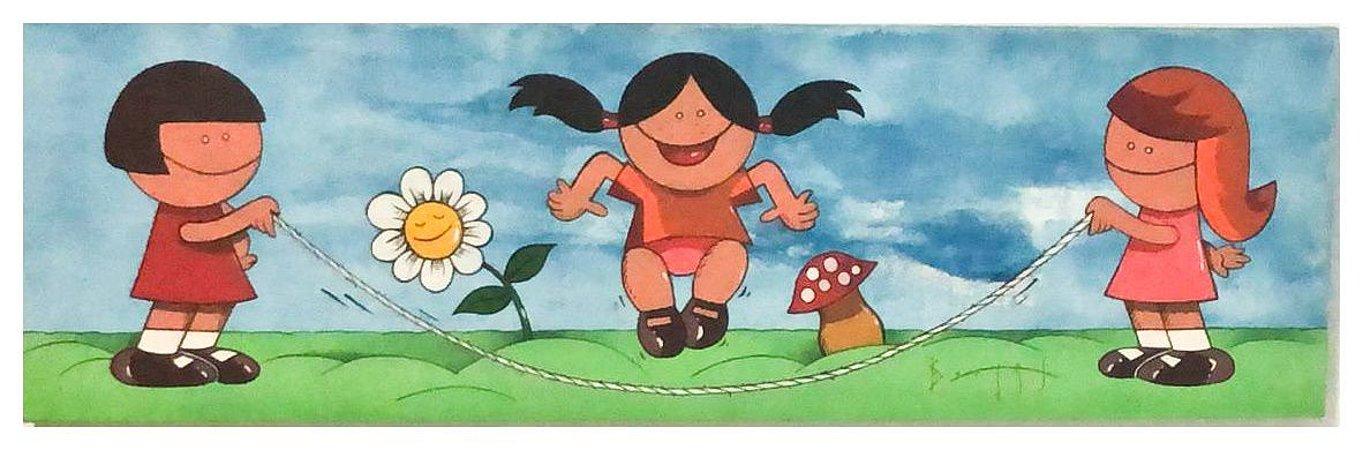 Quadro Pintura Artística 111 - Álvaro Borges filho acrílica sobre tela 30 X 100 Pulando corda Painel